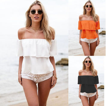 Strapless Pure Color Chiffon Falbala Sexy Beach Blouse