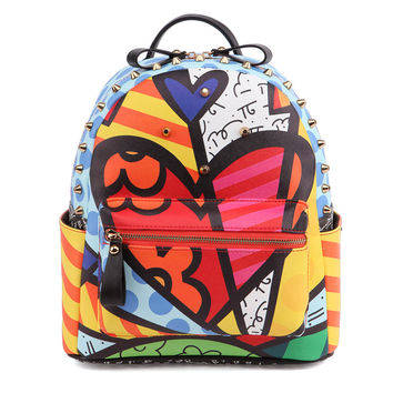 ROMERO BRITTO  2017 Hot Sales New Female Cartoon Graffiti Backpacks School Bags Travel Rivets Woman Fashion Backpack