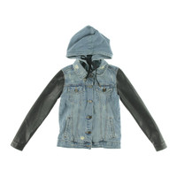 [BLANKNYC] Womens Faux Leather Distressed Denim Jacket
