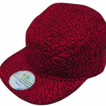 S Cloth Red Hat Cap Fresh Elephant Jordan Print Cycle Adjustable Leather Strap