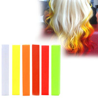 SUNRISE | A pack of 6 Hair Chalks for your highly vibrant hair coloring - white, yellow, orange, red, coral & green apple