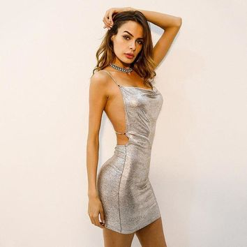 DCCKVQ8 Fashion Bronzing Shiny Backless Hollow Diamond Metal Chain Strap Sleeveless Low Chest Bodycon Mini Dress
