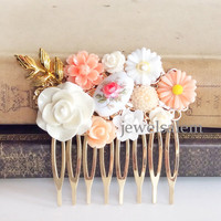 Peach Wedding Hair Comb Bridal Headpiece Custom Hair Slide Coral Gold Blush Pink White Vintage Glass Flower Leaf Romantic Dreamy Soft Pastel