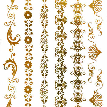 Floral Temporary Tattoo Gold Silver Festival Beach Holiday Gift Present Birthday Gift For Her Flash Tattoo