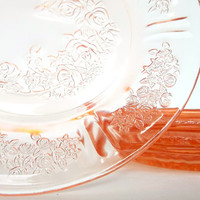 Pink Depression Glass Side Plates - Sharon by Federal Glass Company - 1930s Cabbage Rose - Set of 4 Cottage Chic