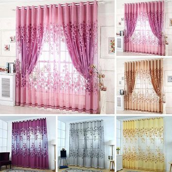1pc Stylish Flower Printed Tulle Sheer Door Window Curtains Drape Scarf Valance  Flower Tulle With Bead