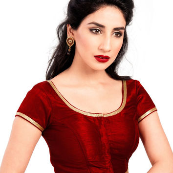 Maroon Party-wear Silk Saree Blouse X-193SL