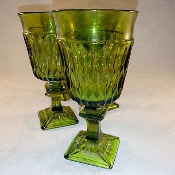 Indiana Glass, Avocado Green Cordial Glasses
