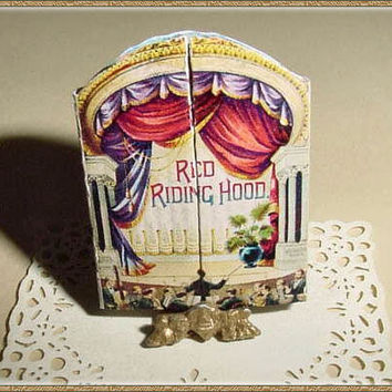 Miniature RED RIDING HOOD - McLoughlin Bros - One Inch Scale Dollhouse Theater or Pantomime Book