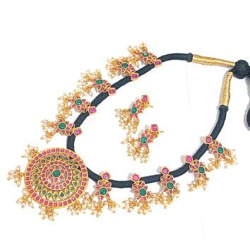 Black dori necklace Traditional matte gold finish choker Necklace and earring set