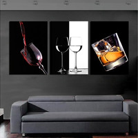3 Panels Beautiful Hot Sell Modern Wall ART Painting Red Wine and Glass Decorative Art Picture Paint on Canvas Prints