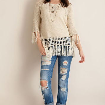 Fringe Hem Sweater - Natural