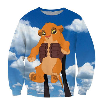 Raisevern cartoon 3D sweatshirt baby Simba The Lion King funny print fashion clothing crewneck sweats top casual outerwear hoody
