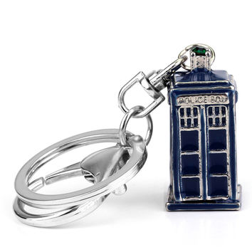 Dr Doctor Who Tardis Metal 3D Police Box Cupreous Pendant Cosplay Keychain Keyring 3 Color