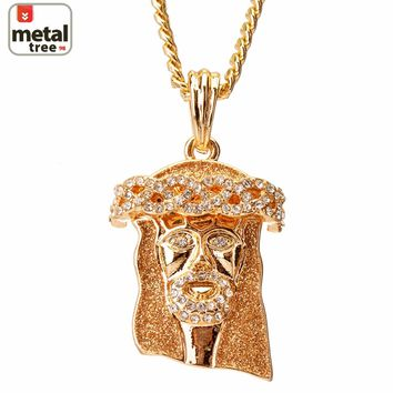 """Jewelry Kay style Men's 14K Gold Plated Iced Out Mini Jesus Piece 30"""" Cuban Chain Pendant Necklace"""