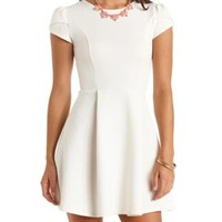 Textured Tulip Sleeve Skater Dress by Charlotte Russe - Ivory
