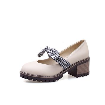 Mary Janes Plaid Middle Heel Round Head Women Shoes