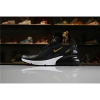 Nike Air Max 270 Black Gold White Sport Running Shoes