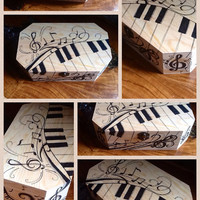 Custom hand drawn music themed wood keepsake  box gift special occasion personalized piano music notes whimsical