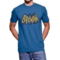Junk Food Batman Vintage Logo Light Navy Adult T-shirt Tee
