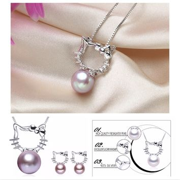 Hello Kitty Necklace & Earring 925 Sterling Silver Pearl Set