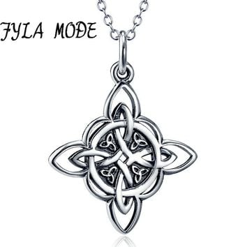 *Handmade Celtics Pendant Antique 100% Sterling Silver Totem Necklace Cross Viking Jewelry For Men Gift