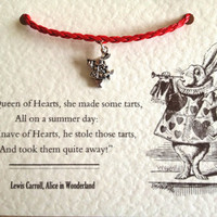 Alice in Wonderland White Rabbit Charm Red Bracelet