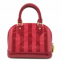 Auth Louis Vuitton Vernis Alma BB Shoulder Tote Bag Red M90976