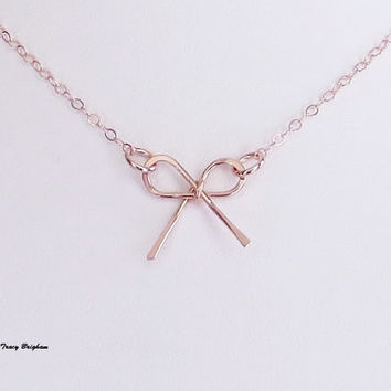 Necklace 14k Rose Gold Filled Wire Bow Pendant Bridesmaid Best Friend Sister Mother Wife Girlfriend Maid of Honor Gift Idea