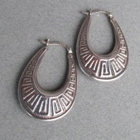 Vintage Oval PUFFY Hoop Sterling Silver Greek Key Design Pierced Earrings