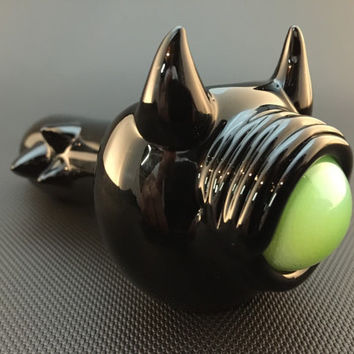 Black Glass Horned Slyme Eye Tobacco Spoon Pipe