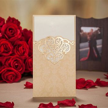 1pcs Sample Gold Hollow Laser Cut Wedding Invitations