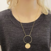 Long Circle Necklace / Double Circle Necklace / Minimal Jewelry / Minimalistic Geometric Jewelry / Layered Necklace / N283