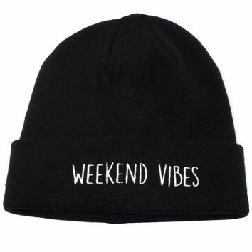 Weekend Vibes Embroidered Beanie Hat
