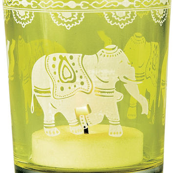 Chartreuse Green Hand Painted Glass Candle Holder Elephant Design Votives Favors Tea Light Holders Vases Indian Moroccan Bohemian Wedding