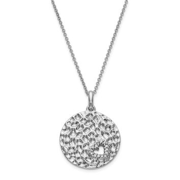 Sterling Silver & CZ Polished I Wish You Enough 18in Necklace
