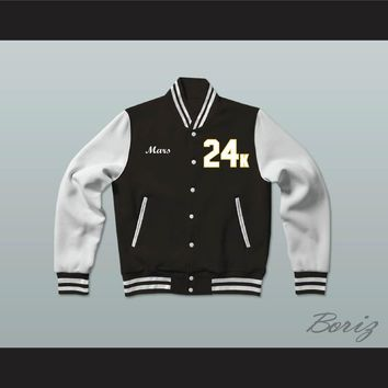 Hooligans 24 K Black and White Varsity Letterman Jacket-Style Sweatshirt