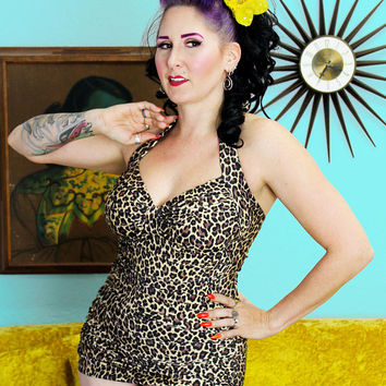 Leopard Lounge Retro Sheath Swimsuit