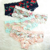floral print Lace Thong Underwear Cotton Striped T-back
