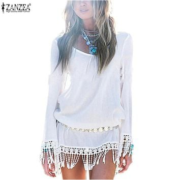 Zanzea Summer Women Mini Short Chiffon Dresses Boho Beach Sexy Fringe Tassel Loose Sheer Vestidos Women de festa blusa S-3XL