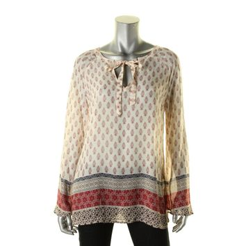 Sanctuary Womens Mori Printed Boho Peasant Top