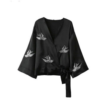 Tangada Women Fashion Sexy Birds Embroidery Kimono Black Bow Tie Batwing Long Sleeve Loose Casual Brand Holiday Jacket YI36