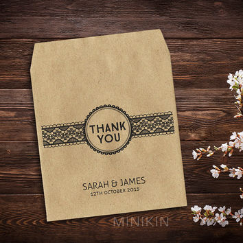 25 x Wedding Favor Thank You Envelopes Seed Packet Wedding Bag Personalised Small Natural Kraft Eco Recycled Gift Favour Storage Thank You