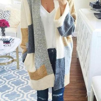 Beige Color Block Print Pockets Fashion Cardigan Sweater