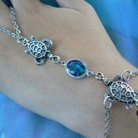 double sea turtle abalone slave bracelet  sea nautical beach cruise wear boho hipster resort wear  style