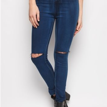 Jemma High Waisted Slit Knee Jeans at misspap.co.uk