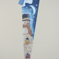 Hand Painted Snowman On Vintage Hand Saw