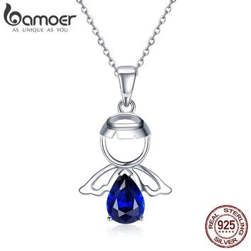 BAMOER Real 100% 925 Sterling Silver Lovely Angel Guardian Pendant Necklaces Blue CZ Necklace For Women Silver Jewelry SCN293