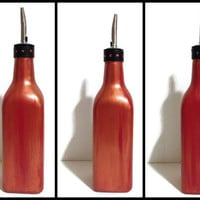 Abstract hand painted olive oil glass bottle, copper, red and black - Custom order