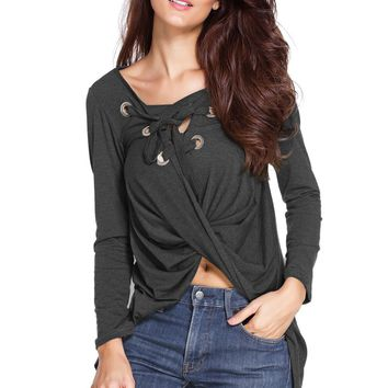 Chicloth Dark Grey Lace Up Long Sleeve Ruched Pullover Shirt
